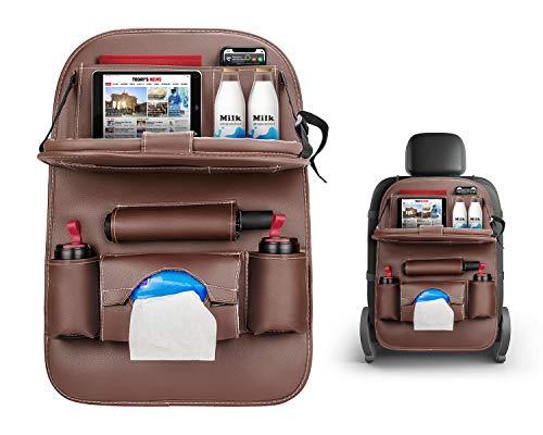 XianJu Organizador de asiento trasero de coche, protector de piel sintética, plegable, soporte multifuncional para coche para viajes familiares por carretera.
