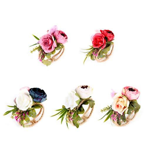 Lurrose 5 Stück Blumen-Armband für Mädchen Hand Blume Haarseil für Hochzeit Festival Strand Party Abschlussball Zubehör