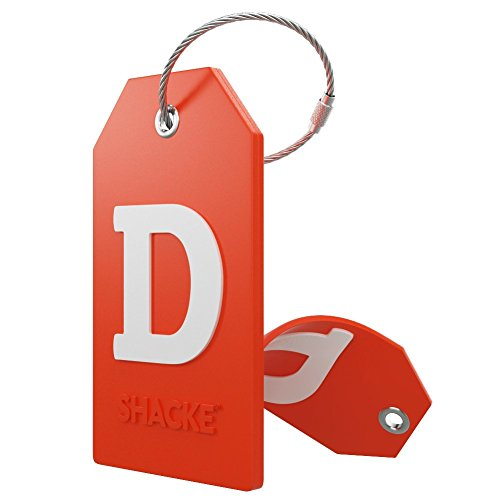 Initial Luggage Tag with Full Privacy Cover and Stainless Steel Loop – (Letter D)