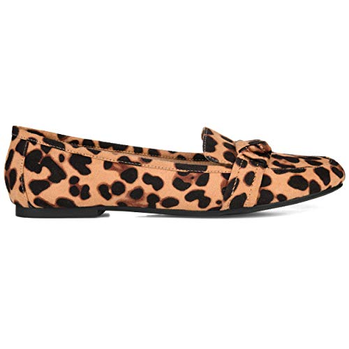 Brinley Co. Womens Knot Accent Flat Loafer Leopard, 8.5 Womens US