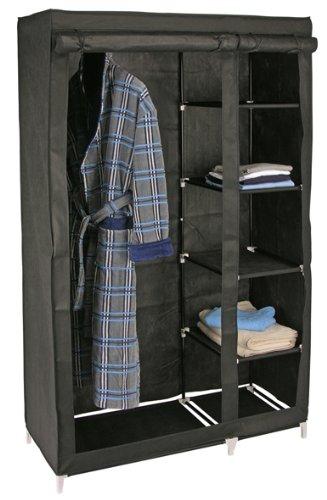 e-Best Faltschrank, Kleiderschrank für Camping, Reisen und Lagerraum, Schwarz, groß