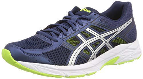 Asics Running Gel Contend 4, Zapatillas de Entrenamiento para Hombre, Azul (Dark Blue/Silver/Safety Yellow 4993), 43.5 EU