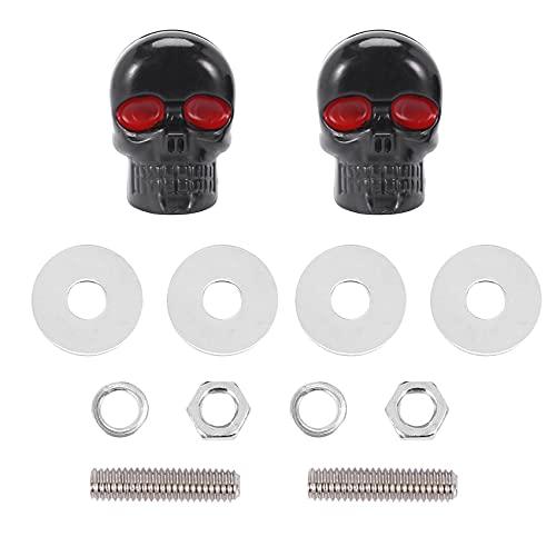 Quata 1 par de tornillos para placa de matrícula, diseño de calavera, color negro