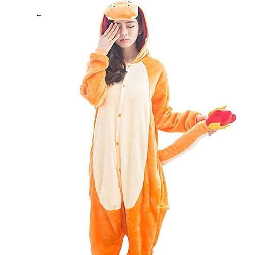 Pijama Anime Charizard Kigurumis Charmander Personaje Onesie Mujeres Hombres Adulto Divertido Pijama Franela Ropa De Dormir Cálida-L