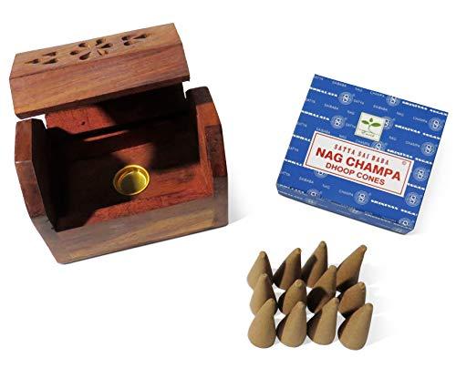 Purity Caja Incienso Madera 12 Conos champán Nag