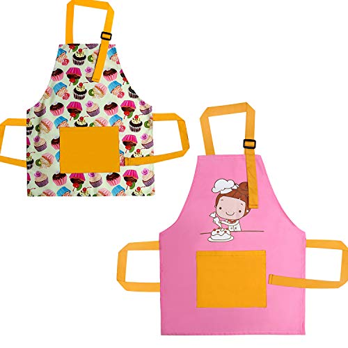 Kids Aprons for Girls, Toddlers Girls Apron for Baking Cooking Kitchen,2 Pack