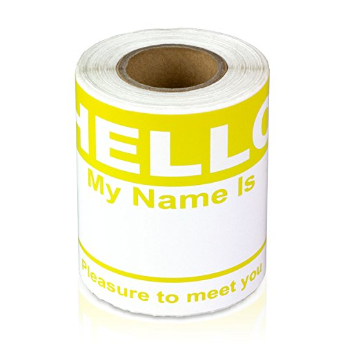 Yellow Hello My Name is Name Badge Tag Labels Stickers - 1 Roll