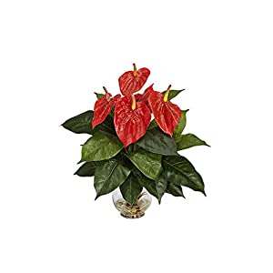 18 Heads Artificial Flower Small Potted Plant Potted Anthurium Office Decoration Bonsai