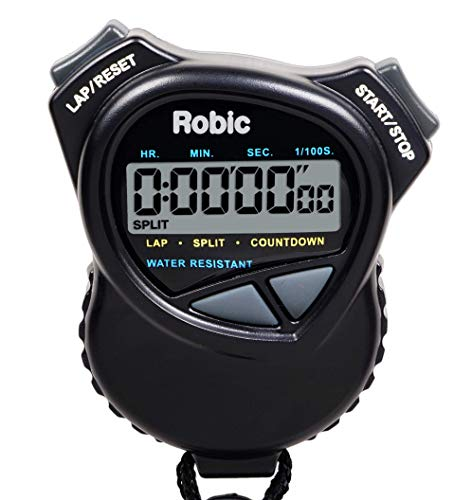 Robic 1000W Dual Stopwatch with Countdown Timer- Black- Water Resistant- Huge LCD Display to Hold and Use