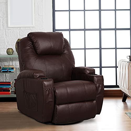 U-Max Massage Recliner Chair Heated Composite Materials Ergonomic Lounge Chair 360° Swivel, Brown
