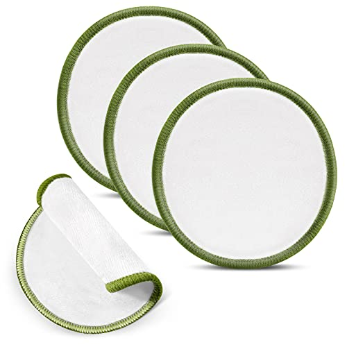 4 Piezas Almohadillas Desmaquillantes Reutilizables Almohadillas de Limpieza Facial Lavables Redondas de Algodón Bambú Suaves y Agradables para Piel para Mayoría de Tipos de Piel