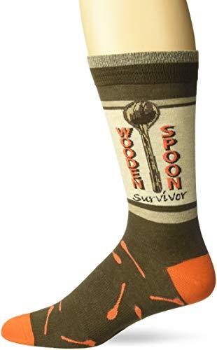 K. Bell Men's Funny Jokes and Wordplay Novelty Crew Socks, Brown (Wooden Spoon), Shoe Size: 6-12