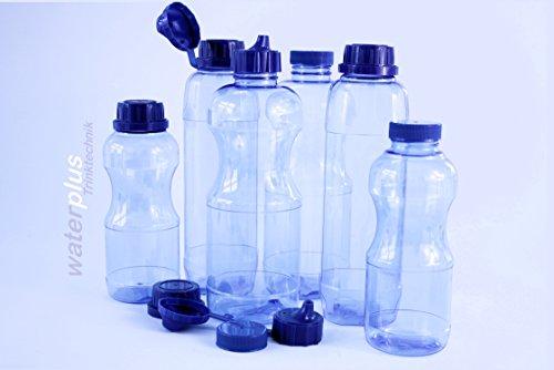 6x TRITAN Trinkflaschen Wasserflaschen Getränkeflaschen Sportflaschen , Set bestehend aus: 2x 1 Liter (rund), 2x 1 Liter (eckig), 2x 0,5 Liter (rund) + 4 Standard-, + 3 Dicht-, + 2 Trinkdeckel, weichmacherfrei / BPA frei, Öffnung (33 mm), geschirrspülfest, lebensmittelecht, geschmacksneutral und geruchsneutral / geruchsfrei