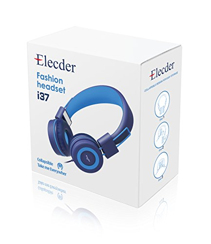 Elecder i37 Kids Headphones Children Girls Boys Teens Adults Foldable Adjustable On Ear Headsets 3.5mm Jack Compatible iPad Cellphones Computer MP3/4 Kindle Airplane School Tablet Blue/Light Blue