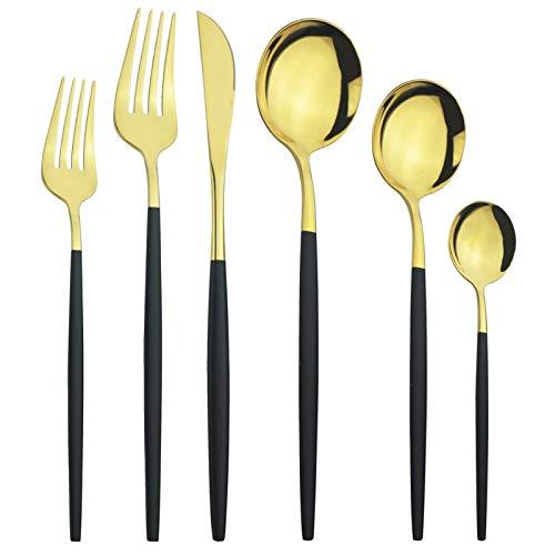 cubiertos 6 unids/set Cubiertos Set de cubiertos Set de vajilla de acero inoxidable Conjunto de cuchillos Forks Postres Spoons Vajilla Conjunto Cocina Sildeware Set cuberteria (Color : Black Gold)