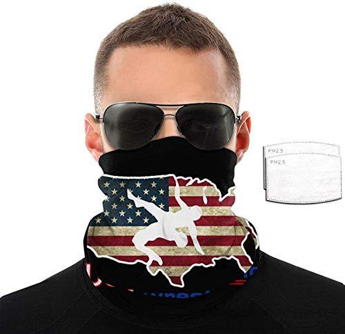 ZT-shop Wrestling Usa Flag Gesichtsschutz Bandana Hals Gamasche Rohr Kopfbedeckung Bandana, Seamless Rave Half Balaclava-With2Filter-OneSize