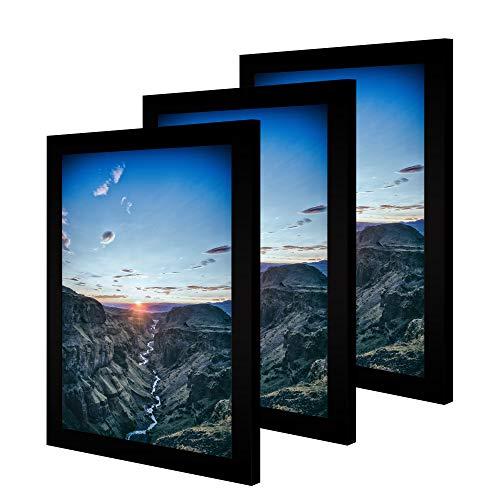 CABBEL 3er Set Bilderrahmen 30x40 cm MDF Holz-Rahmen mit bruchsicherem Acrylglas, ideal für Poster, Portraits in Schwarz