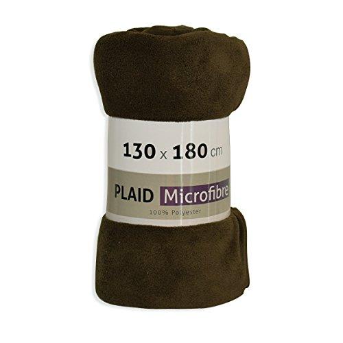 Plaid Microfibre Marron Chocolat 130x180 cm CHALET PMICR