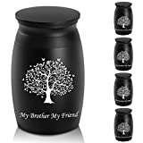 """Urns for Brother Ashes, 2.8"""" High Small Funeral Cremation Urns, Handcrafted Black Memorial Keepsake Urn, Engraved My Brother My Friend & Tree of Life Decorative Urn for Sharing"""