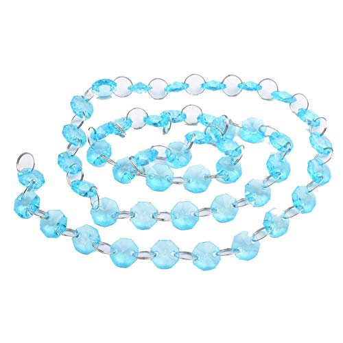 1m Acrylic Crystal Octagon Beads Strands Wedding Christmas Party Hanging Decoration Hanging Bead String (Blue)