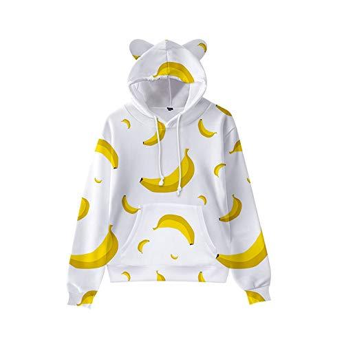 GYINGY Cat Ear Hoodies Fresh Fruit Series Pullover Breathable Hoodies Gemusterte Sweatshirts für Herren-L