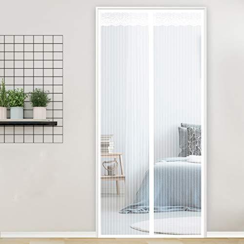 GUOGAI Puertas Mosquitera Magnética 90x240cm(35x94inch) Mosquiteras Enrollables Evita el Paso de Insectos Mantiene Insectos para Sala de Salón Terraza, Blanco A