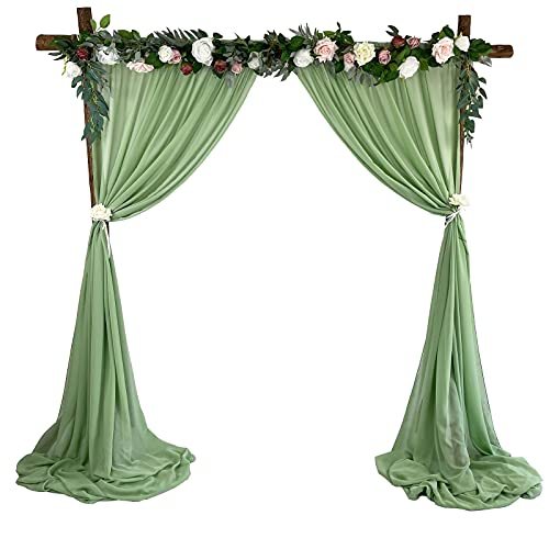 EHLDekol Sheer Chiffon Backdrop Curtains 10ft x 10ft, Chiffon Fabric Drapes for Wedding, Long Sheer Curtain for Living Room, Arch Party Stage Decoration (Sage Green / Olive Green)