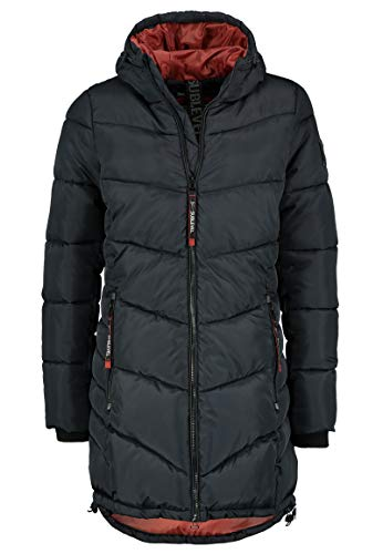 Sublevel Damen Stepp-Mantel mit Kapuze lang & tailliert Black L