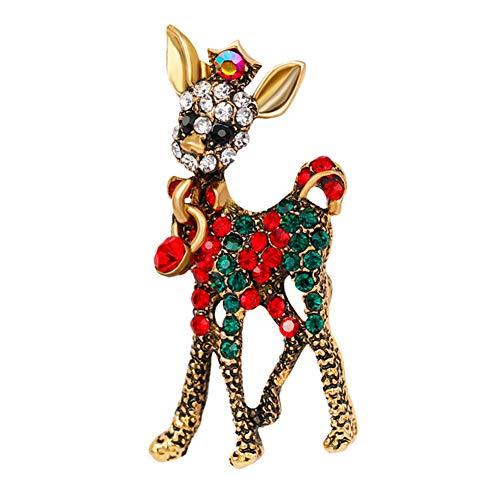Moda Navidad Fawn Esmalte Cristal Rhinestones Broche Pin para Mujeres Joyería Ropa Vestido Decoración de la Bufanda (Fawn Forma)