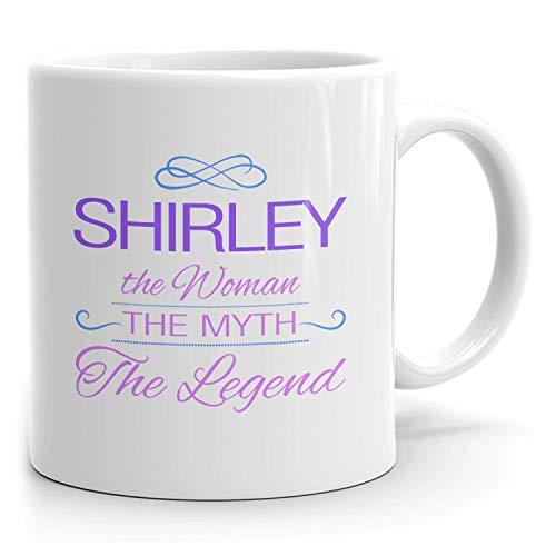 N\A Taza de café Shirley, Regalo Personalizado, la Mujer, el Mito, la Leyenda, Taza Blanca de 11 oz, Morado