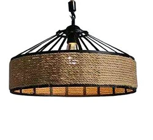 NC American Country Hemp Rope Restaurant Chandelier Personality Nordic Clothing Store Milk Tea Shop Round Iron LED Creative Chandelier
