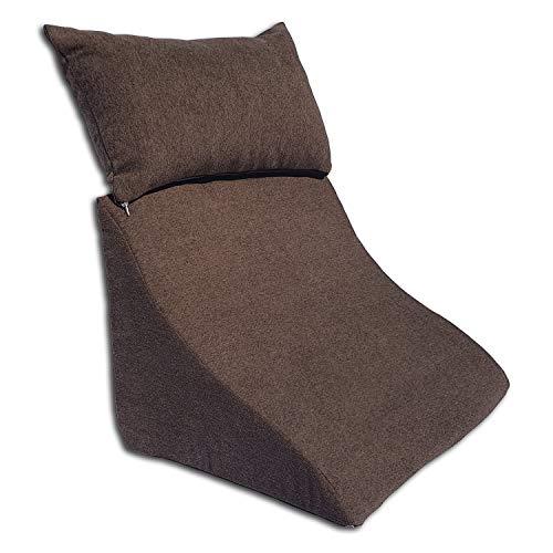 Formalind - Cojín de cuña con Forma Ergonómica y un Acogedor Cojín de sofá para Leer, Ver la Televisión y Relajarse (marrón oscuro)