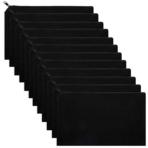 Alphatool 12 Pack Black DIY Craft Bag Canvas Pen Pencil Case- 8 x 5 inches Cotton Canvas Invoice Bill Bag Makeup Bag Cosmetic Bag Multipurpose Travel Toiletry Pouch with Black Zipper