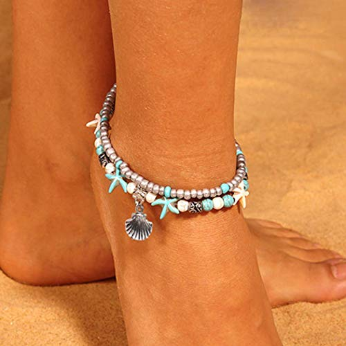 Shegirl Boho Starfish Anklet Bracket Fashion Shell Turquoise Anklet Brackets Layered Shell Silver Pendant Foot Jewelry for Women and Girls