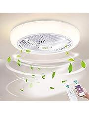 Ø46cm Dimmen Plafondventilator met verlichting LED 36W Dimbaar Plafondverlichting met afstandsbediening en APP, Ventilatorlicht voor Huiskamer Slaapkamer Plafondlamp, Acryl schaduw,White
