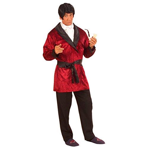 NET TOYS Costume de Playboy Casanova déguisement Hugh HEFNER Peignoir Costume de Playboy Mardi Gras Carnaval L 50/52 Rouge
