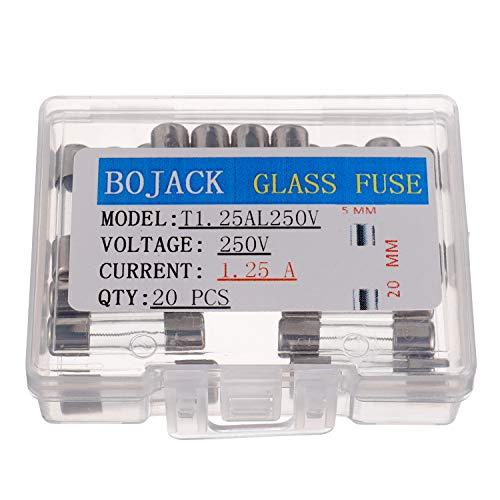 BOJACK T1.25AL250V 5x20 mm 1.25A 250V Langsamer Schlag Glas sicherungen 1.25 Ampere 250 Volt 0,2 x 0,78 Zoll Glasrohr Verzögerungs sicherungen (Packung mit 20 Stück)