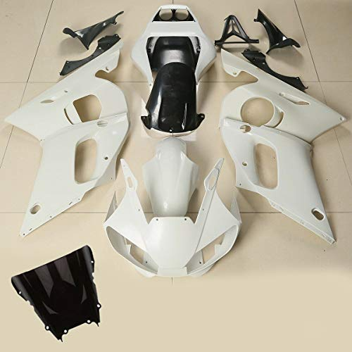 Green-L Unpainted ABS Injection Fairings Kit Bodywork with Windshield Fit for Yamaha YZF R6 1998-2002