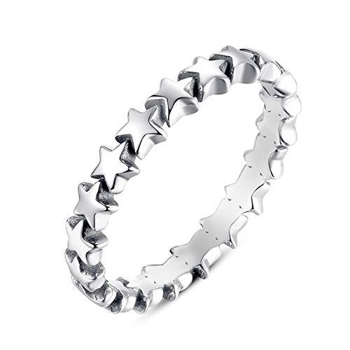 CHENTAOCS Romantische Ring Voor Vrouwen Authentieke Zilverkleurige Ster Voor altijd Liefde Vinger Belofte Ring Grootte 6/7/8/9 Mode Sieraden FY