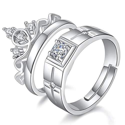 yqs Anillo abierto 925 plata esterlina nueva joyería moda pareja anillo compromiso boda mujer hombre corona anillo abierto