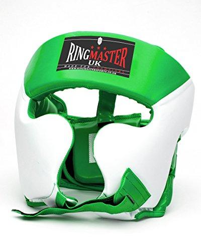 Ringmaster UK Casco Protettivo per Boxe Pelle Sintetica Colore: Verde/Bianco, Uomo Donna
