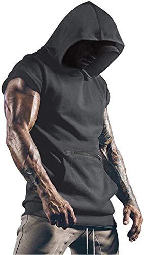 Cabeen Camiseta de Tirantes Deportiva Fitness Sudadera con Capucha Sin Mangas para Hombre Culturismo Gym Tank Top con Bolsillos