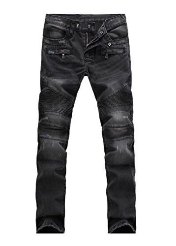 Lavnis Men's Slim Fit Vintage Distressed Motorcycle Jeans Runway Biker Denim Jeans Style 5-Black-33