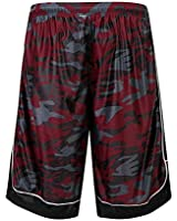 HQUEC Men's Camo Basketball Shorts Long Gym Workout Sport Shorts with Side Pockets Red/C1 2XL