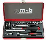 MOB Outillage 0000983401 Coffret Metal Douilles 1/4-29 Pièces (4 À 13 mm), Rouge