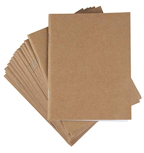 Kraft Notebook - 48-Pack Unlined Blank Books, Unruled Plain Travel Journals for Students, School, Children's Writing Books, Class Projects, Brown, 4.25 x 5.5 Inches, 24 Sheets Each