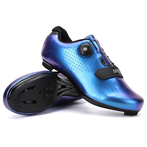 KUXUAN Zapatillas de Ciclismo de Carretera para Hombre - Zapatillas de Spinning con Zapatilla Peloton de Cala Compatible con SPD y Delta para Hombre,Blue-47EU=(285mm)