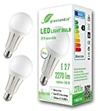 2x Bombilla LED greenandco® IRC 90+ E27 24W (corresponde a 140W) opaca 2270lm 3000K (blanco cálido) 270° 230V AC, sin parpadeo, no regulable