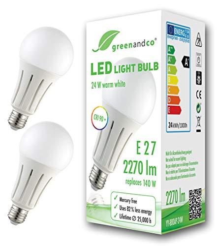 2x greenandco® CRI 90+ LED Lampe ersetzt 150 Watt E27 Birne matt, 24W 2050 Lumen 3000K warmweiß 270° 230V AC, flimmerfrei, nicht dimmbar, 2 Jahre Garantie