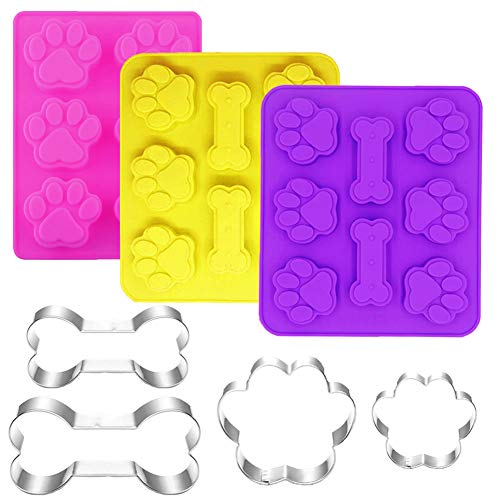 Ausplua 7 Pack Dog Cookie Cutter and Molds,Including 3 Pcs Jumbo Silicone Dog Treat Molds, and 4 Pack Stainless Steel Puppy Paw Bone Cookie Cutters,Perfect for Ice Candy Chocolate Biscuit Dog Treats